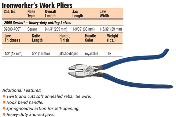 rodbuster tools. d2000-7cst 2000 series side-cutting pliers for rebar rodbuster tools